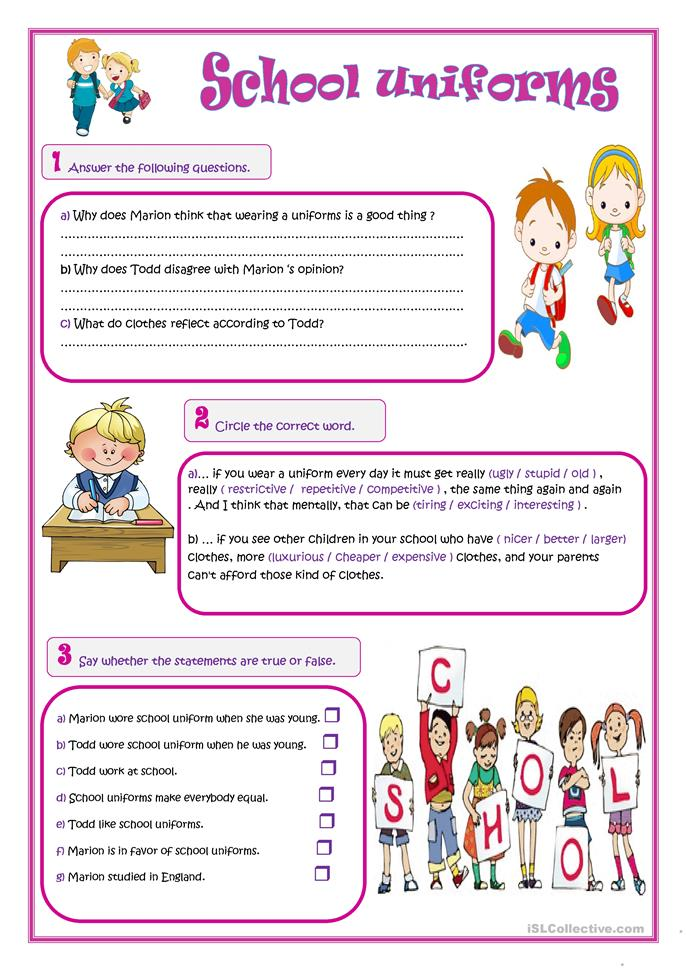 School Worksheets For Teachers : School uniforms worksheet free esl printable worksheets