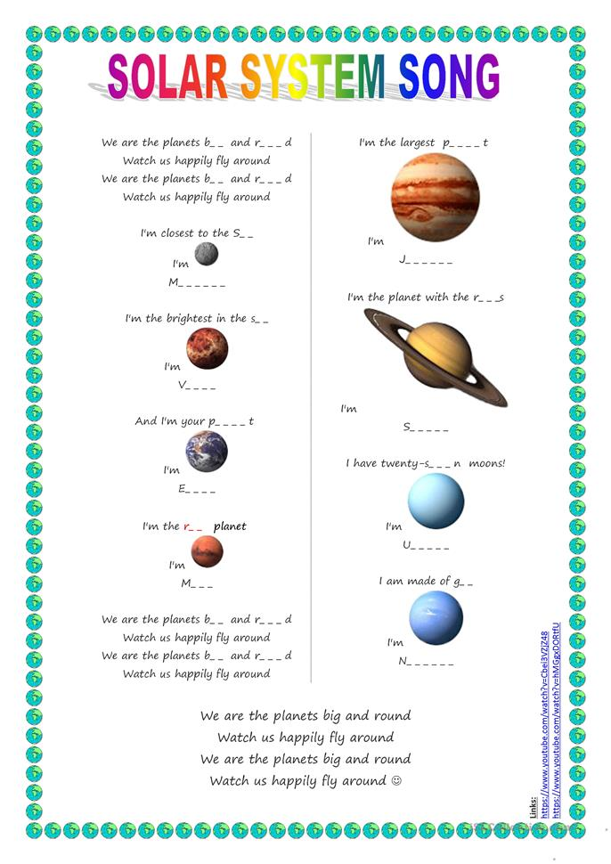 Printables Free Solar System Worksheets 18 free esl solar system worksheets song for kids planets song