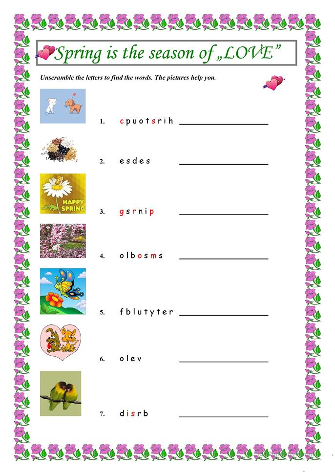 Spring English Worksheets : Spring is the season of quot love worksheet free esl
