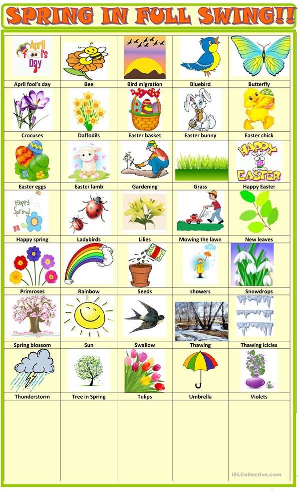 Spring English Worksheets : Spring pictionary worksheet free esl printable