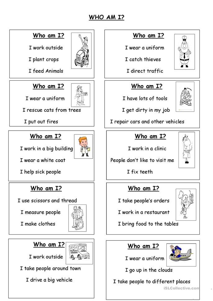 WHO AM I? worksheet - Free ESL printable worksheets made by teachers
