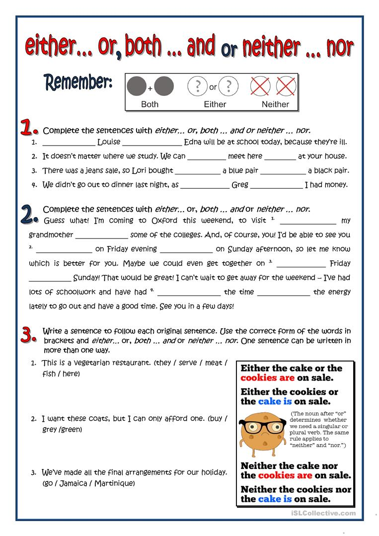 Both Either Neither Worksheet Free Esl Printable Worksheets