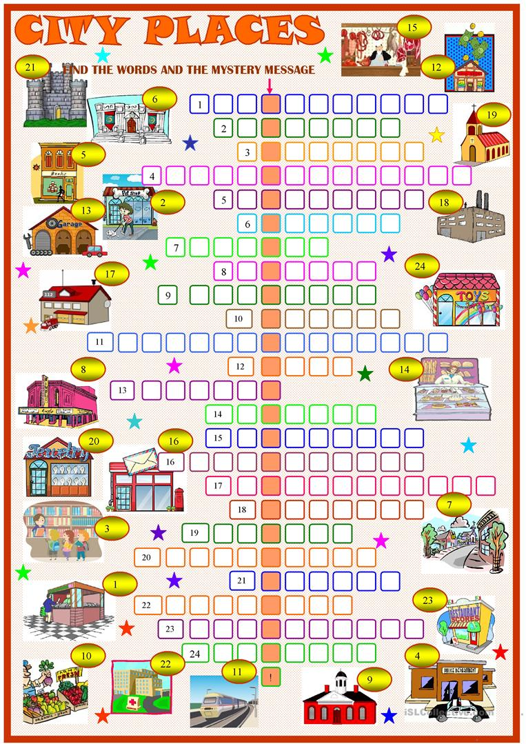 city places crossword puzzle with key worksheet free esl printable worksheets made by teachers. Black Bedroom Furniture Sets. Home Design Ideas