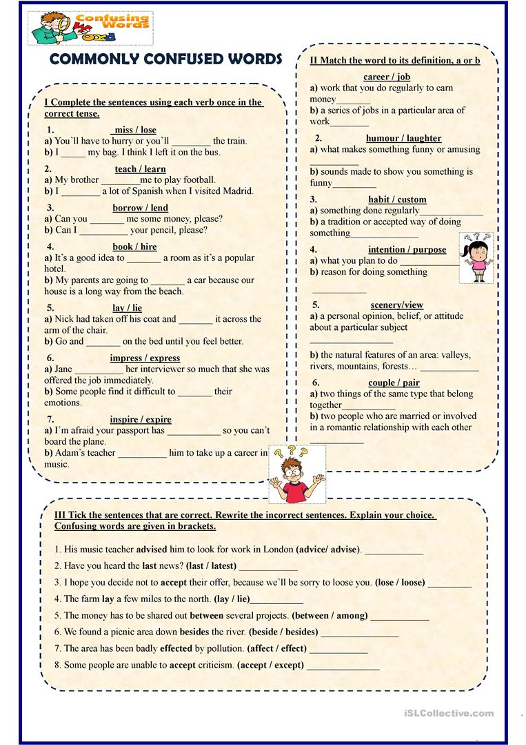 Commonly Confused Words - English ESL Worksheets
