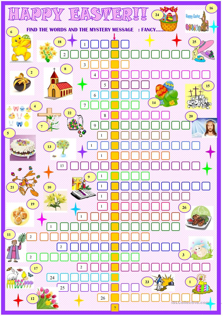 Easter:crossword puzzle with key - English ESL Worksheets