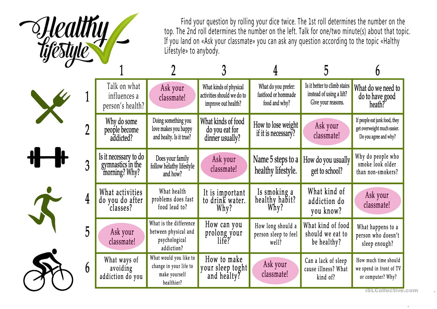 Worksheets Healthy Living Worksheets 7 free esl healthy lifestyle worksheets boardgame