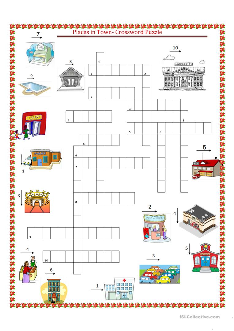 places in town crossword puzzle worksheet free esl printable worksheets made by teachers. Black Bedroom Furniture Sets. Home Design Ideas