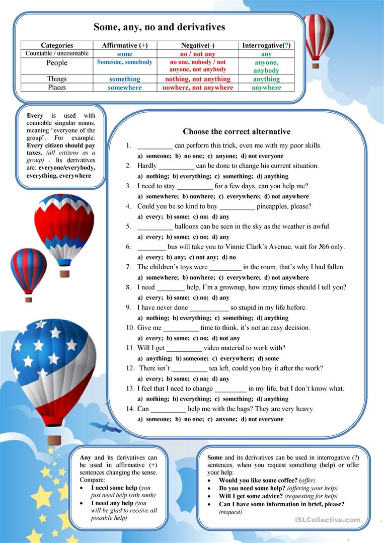 8 FREE ESL SOME or ANY worksheets for upper-intermediate (B2) level