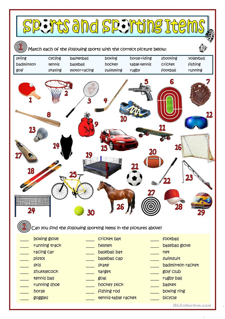 sports and sporting items worksheet free esl printable worksheets made by teachers. Black Bedroom Furniture Sets. Home Design Ideas