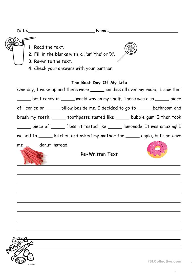 The Best Day of My Life (articles) - English ESL Worksheets