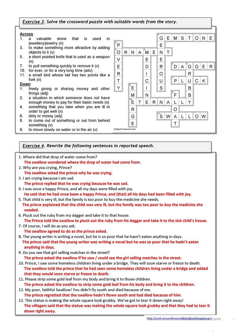 The Happy Prince By Oscar Wilde Video Listening Worksheet Free