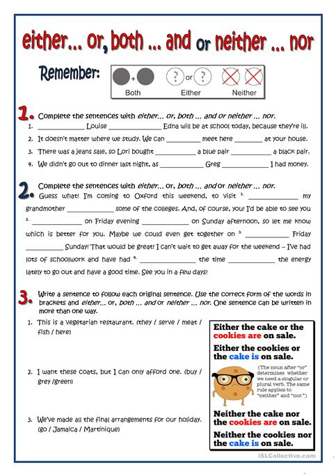 BOTH - EITHER - NEITHER worksheet - Free ESL printable worksheets ...