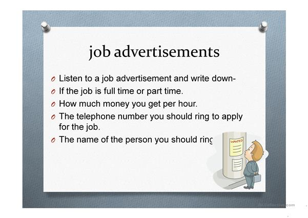 Applying for a job- job advertisements