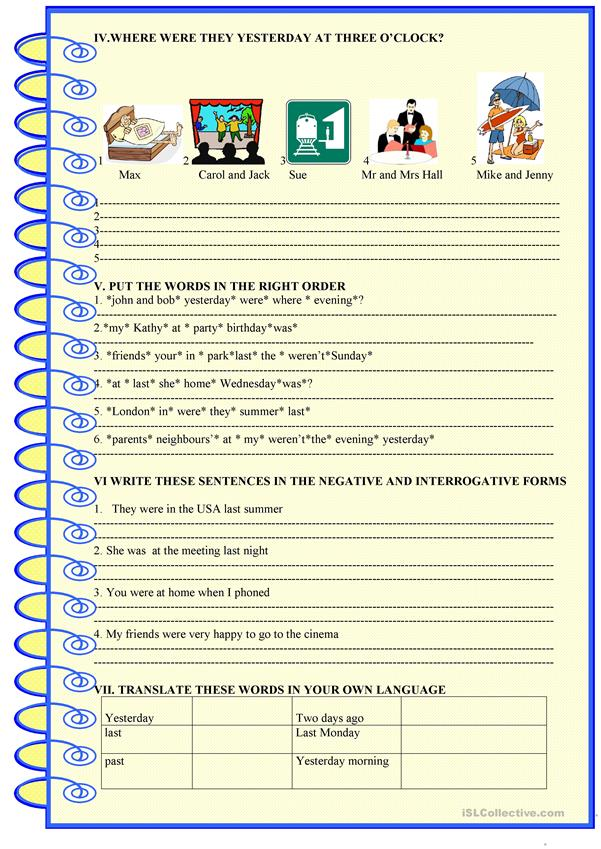 BE in the past :  2 page activity