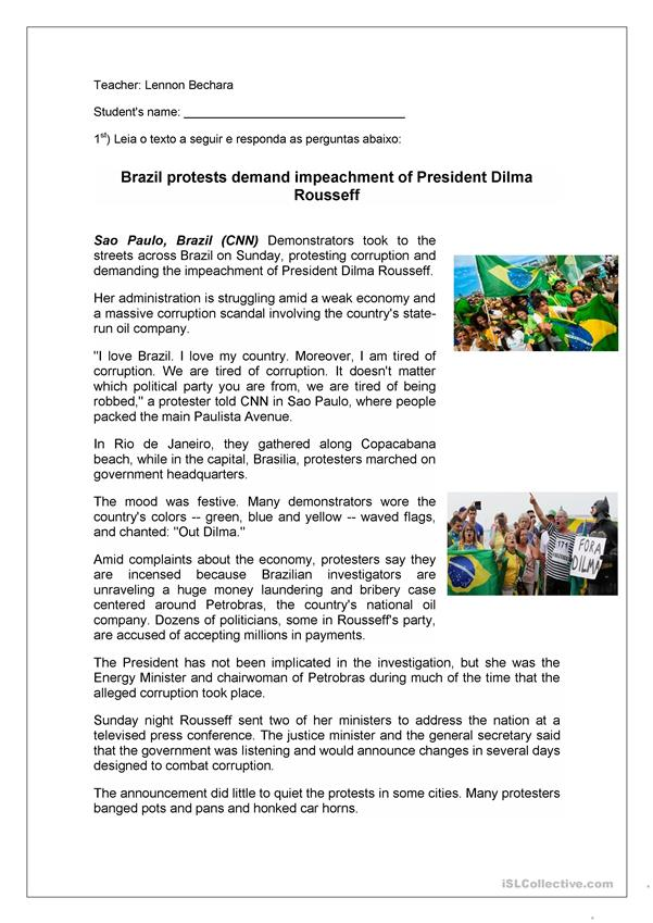 Brazil Protests- Reading Comprehension Activity