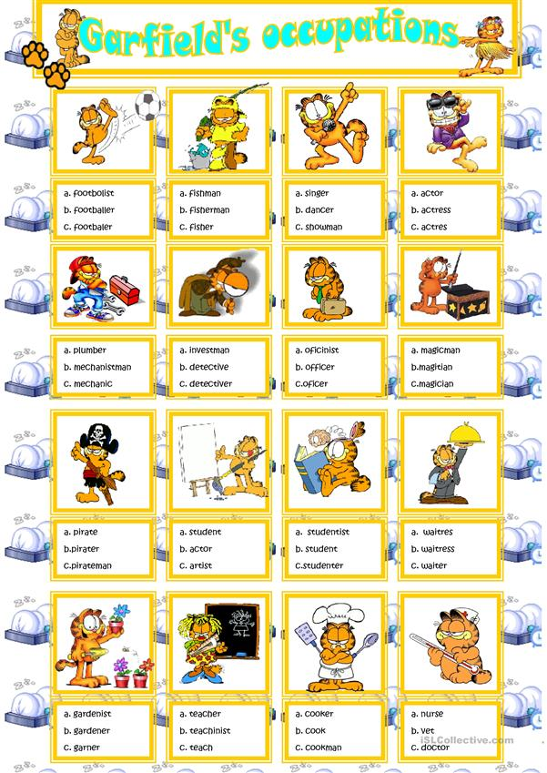 Garfield´s jobs multiple choice