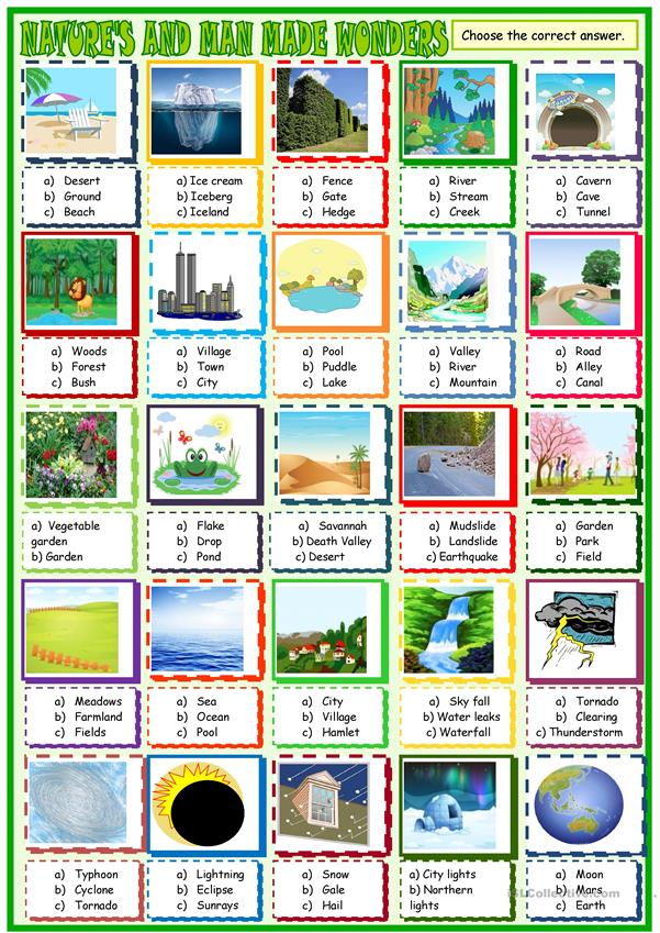 Nature's wonders:multiple choice activity 2
