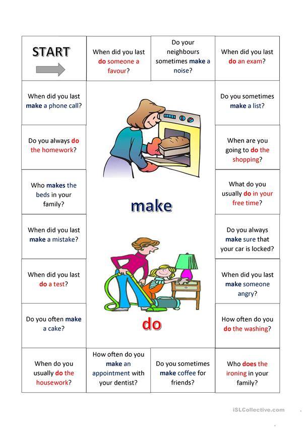 Speaking activity using the verbs DO and MAKE