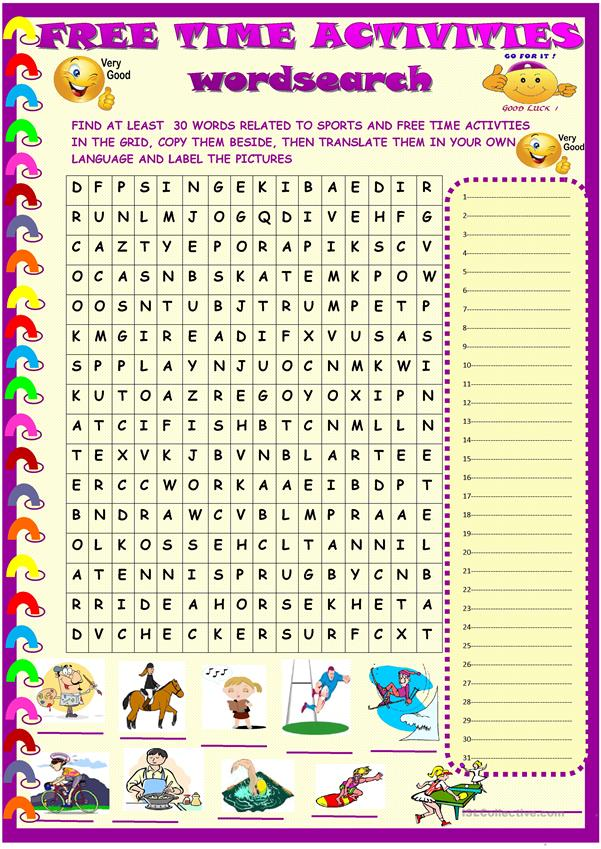 sports and free time activities: wordsearch