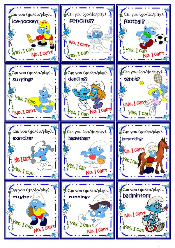 Sports play/go/do Go fish Game with the Smurfs