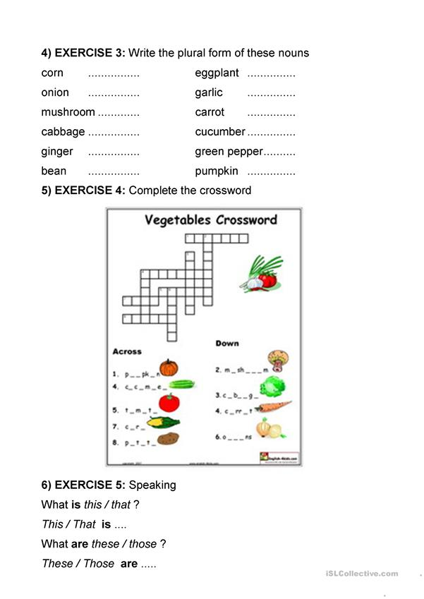 VEGATABLE VOCAB AND EXERCISES