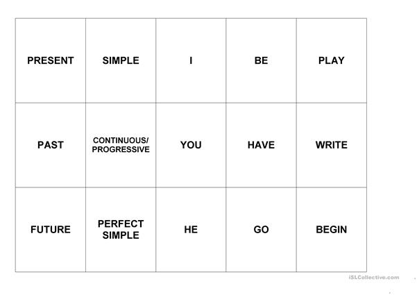 Verb Tenses Card Games - Constructing phrases