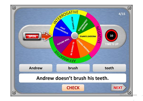 VERB TENSES WHEEL