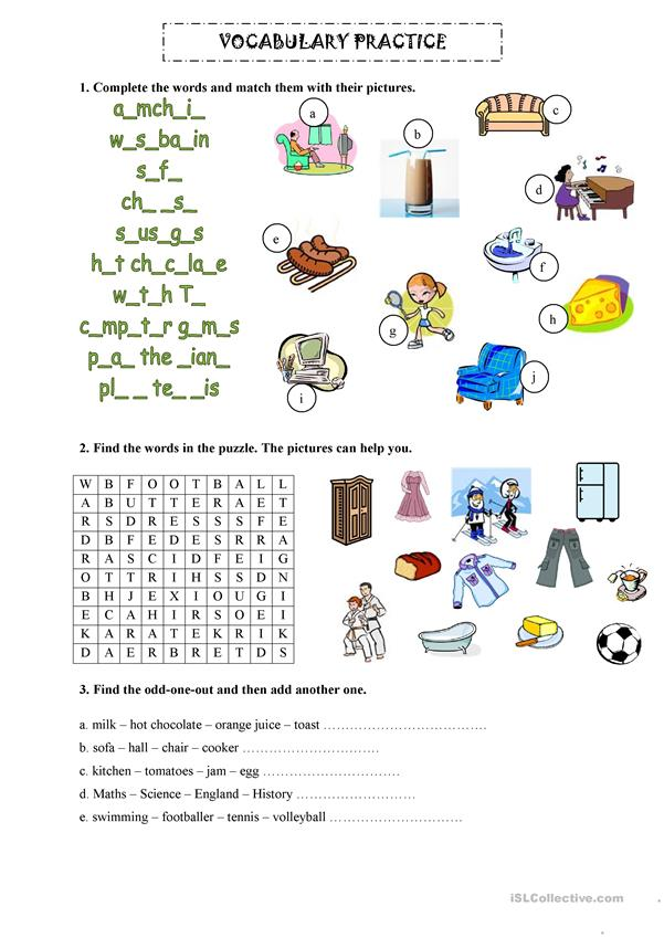 Vocab practice - revision - 2 pages
