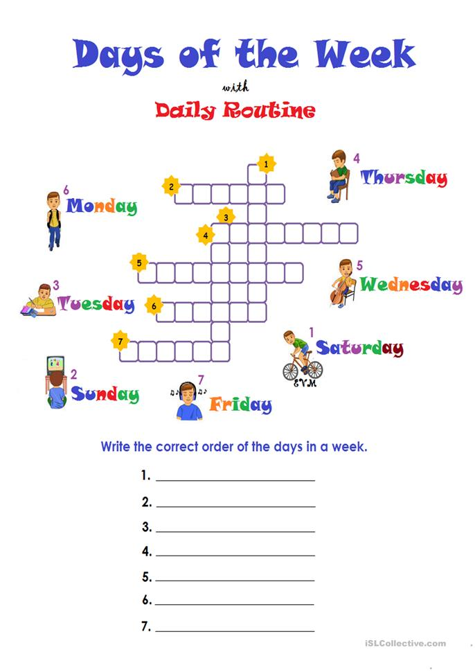 Days Of The Week Routine Worksheet Free Esl Printable