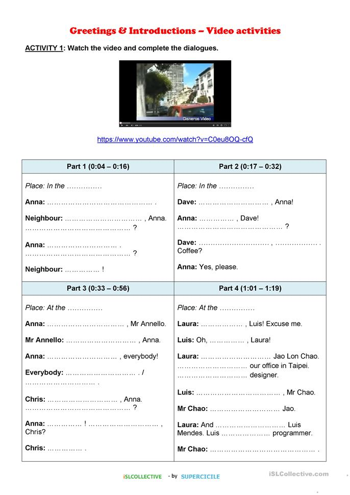 15 FREE ESL greetings worksheets for elementary (A1) level adults