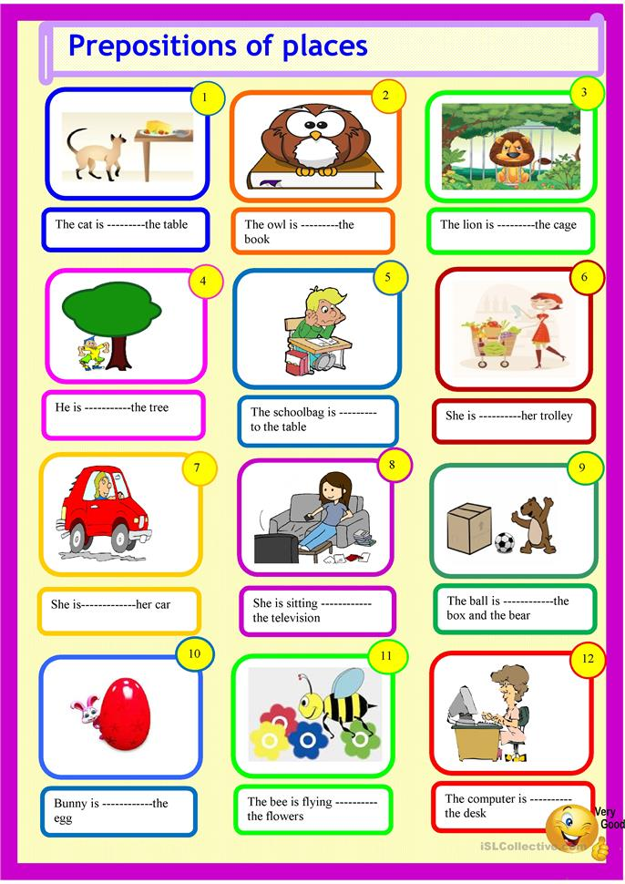Preposition In Learn In Marathi All Complate: Prepositions For Young Learners Worksheet