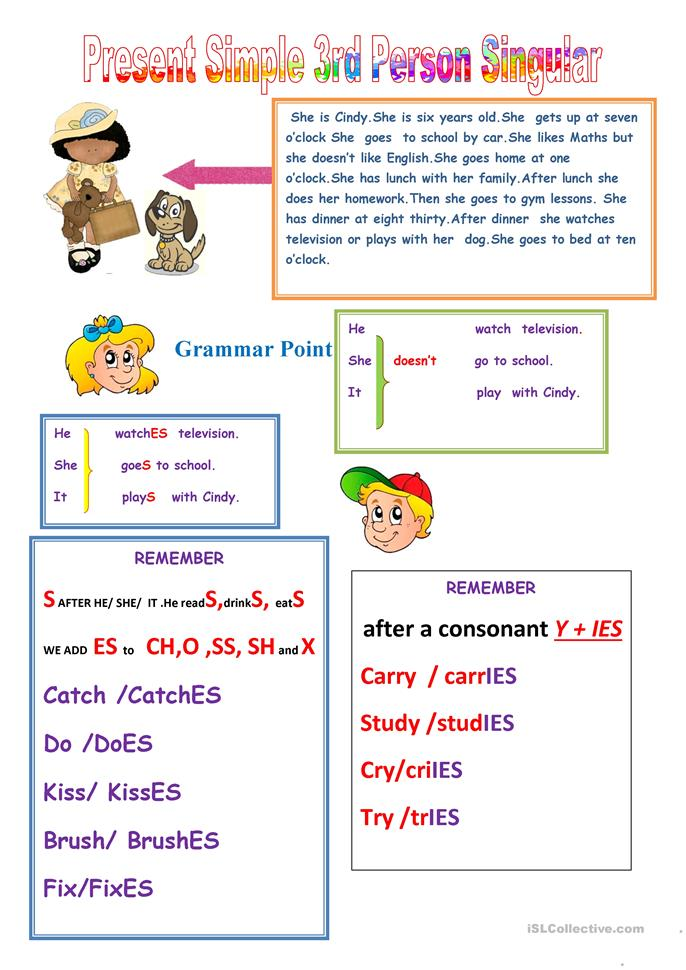 10 FREE ESL present simple 3rd person worksheets