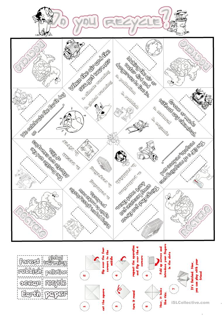 recycle and nature cootie catcher worksheet free esl printable worksheets made by teachers. Black Bedroom Furniture Sets. Home Design Ideas