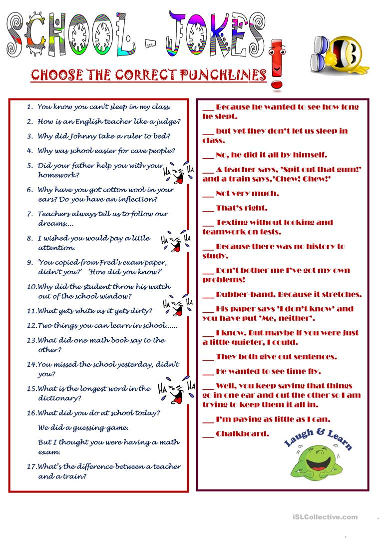 School Jokes - English ESL Worksheets