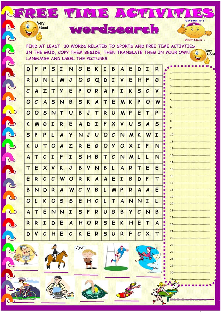 sports and free time activities wordsearch english esl worksheets. Black Bedroom Furniture Sets. Home Design Ideas