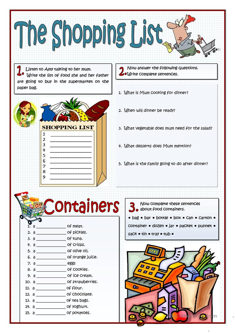 worksheet Grocery List Worksheet 27 free esl shopping list worksheets the worksheets