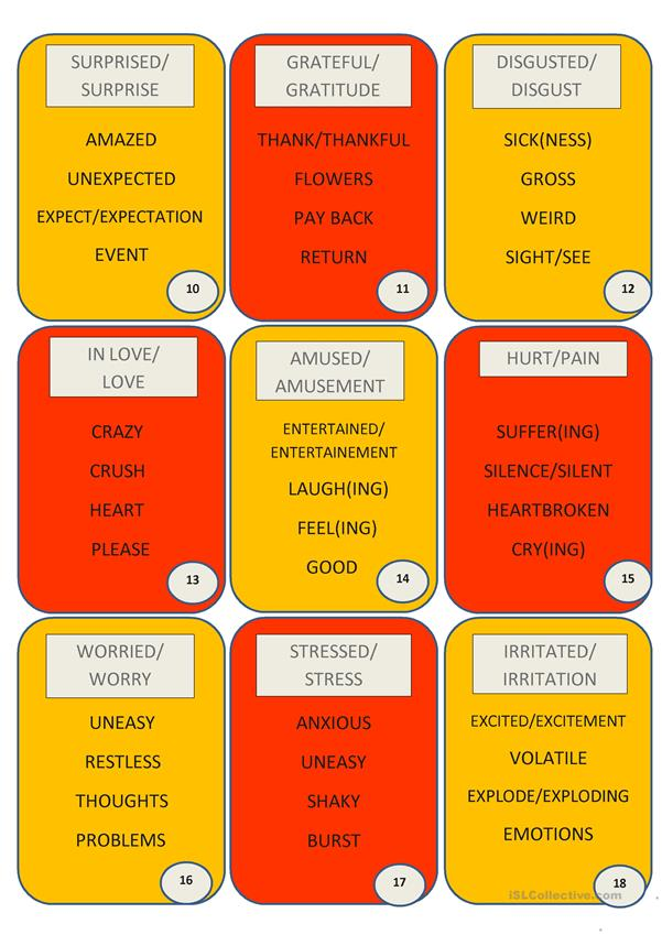 18 Taboo Cards on Emotions (2 pages)
