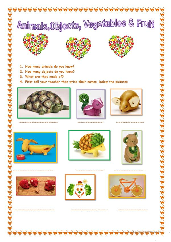 Animals, objects vegetables & fruit.