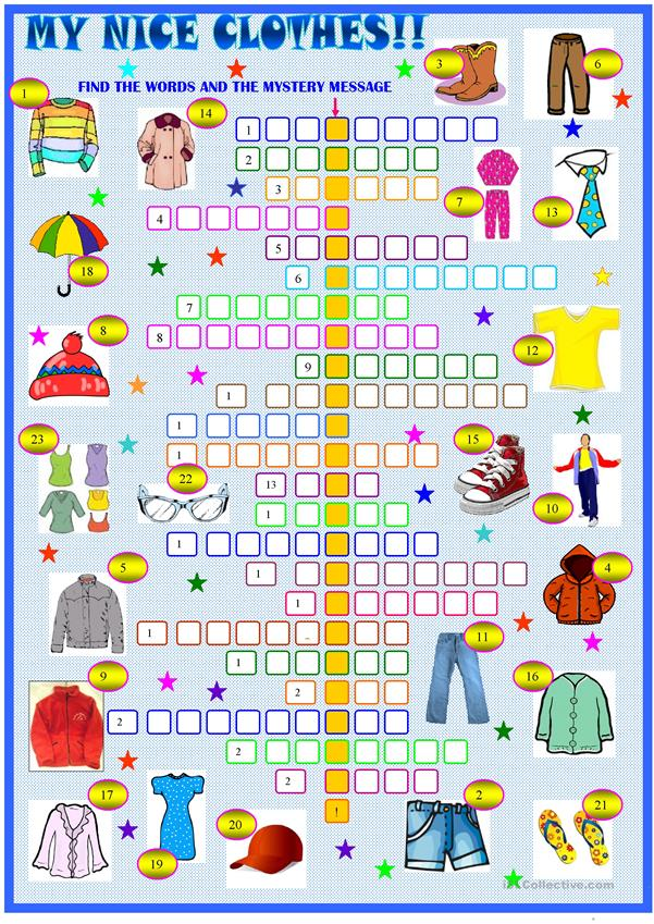 Clothes and accessories : crossword puzzle