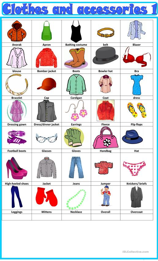 Clothes and accessories : pictionary 1