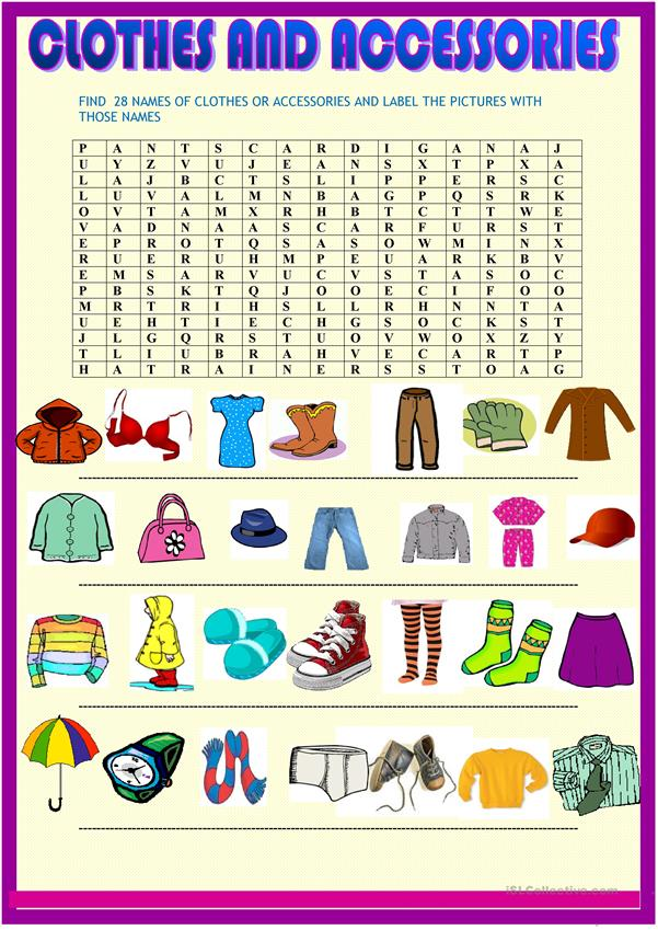 Clothes : wordsearch and picture labelling