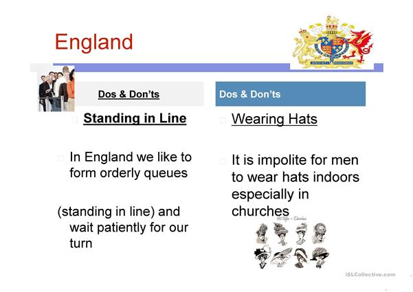 Do's and don'ts in England