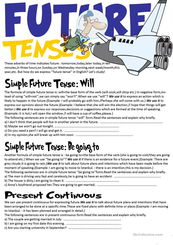 Future Tenses Grammar Guide (Will,Be going to and Present continuous)