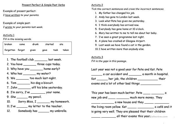 Present perfect and past simple worksheet