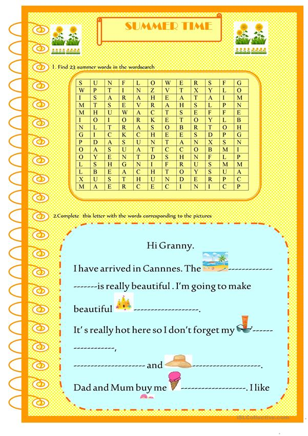 Summer time: wordsearch and letter to complete