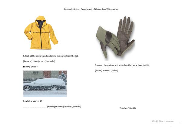 Worksheet about Weather