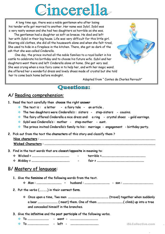 Cinderella - ESL worksheets