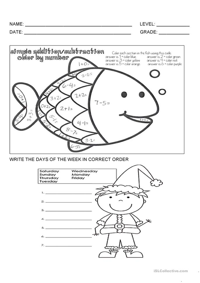 recognizes the colors and days of the week worksheet - Free ESL ...
