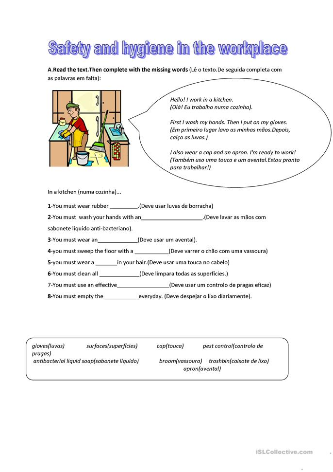 Worksheets Hygiene Worksheets 4 free esl hygiene worksheets safety in the kitchen