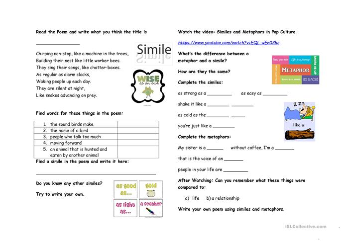 Similes and Metaphors worksheet Free ESL printable worksheets – Metaphor and Simile Worksheets
